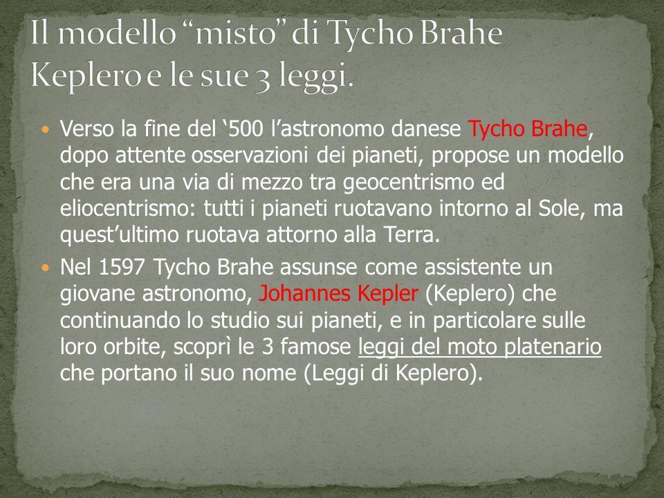 Verso la fine del 500 lastronomo danese Tycho Brahe, dopo attente osservazioni dei pianeti, propose un modello che era una via di mezzo tra geocentrismo ed eliocentrismo: tutti i pianeti ruotavano intorno al Sole, ma questultimo ruotava attorno alla Terra.