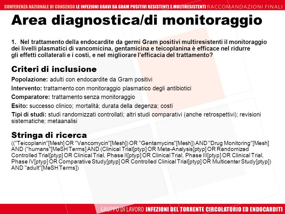 Area diagnostica/di monitoraggio 1.Nel trattamento della endocardite da germi Gram positivi multiresistenti il monitoraggio dei livelli plasmatici di