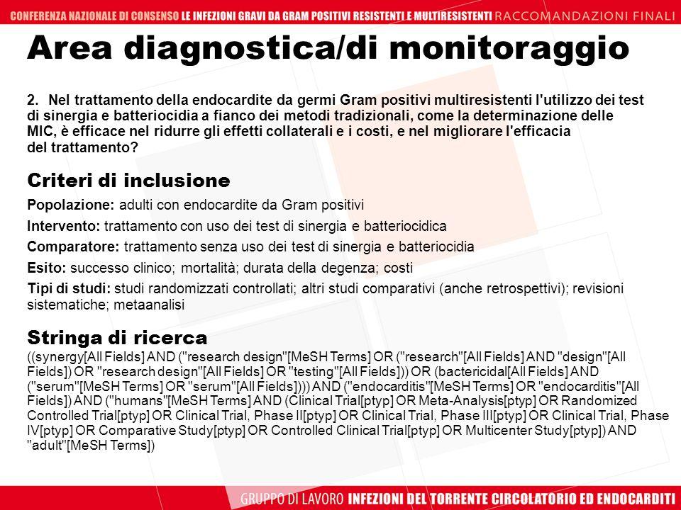 2.Nel trattamento della endocardite da germi Gram positivi multiresistenti l'utilizzo dei test di sinergia e batteriocidia a fianco dei metodi tradizi