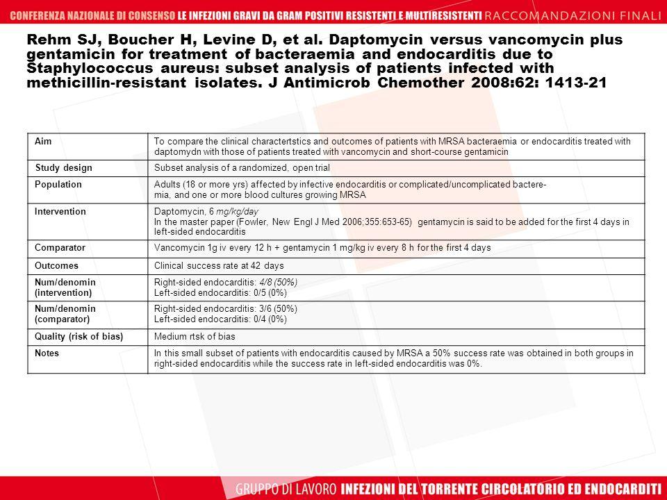 Rehm SJ, Boucher H, Levine D, et al. Daptomycin versus vancomycin plus gentamicin for treatment of bacteraemia and endocarditis due to Staphylococcus
