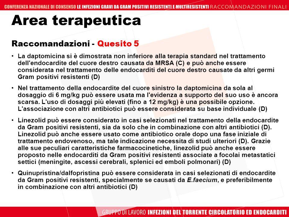 Area terapeutica Raccomandazioni - Quesito 5 La daptomicina si è dimostrata non inferiore alla terapia standard nel trattamento dell'endocardite del c