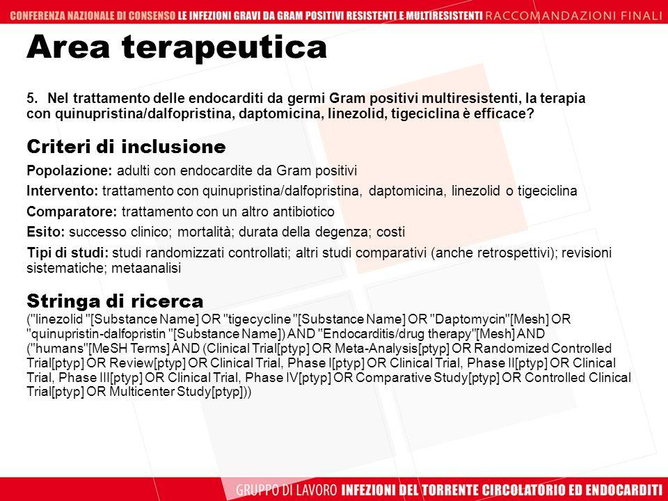5.Nel trattamento delle endocarditi da germi Gram positivi multiresistenti, la terapia con quinupristina/dalfopristina, daptomicina, linezolid, tigeci