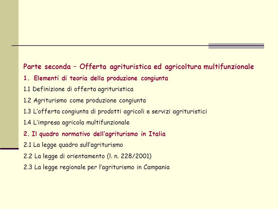 Parte seconda – Offerta agrituristica ed agricoltura multifunzionale 1.Elementi di teoria della produzione congiunta 1.1 Definizione di offerta agrituristica 1.2 Agriturismo come produzione congiunta 1.3 Lofferta congiunta di prodotti agricoli e servizi agrituristici 1.4 Limpresa agricola multifunzionale 2.
