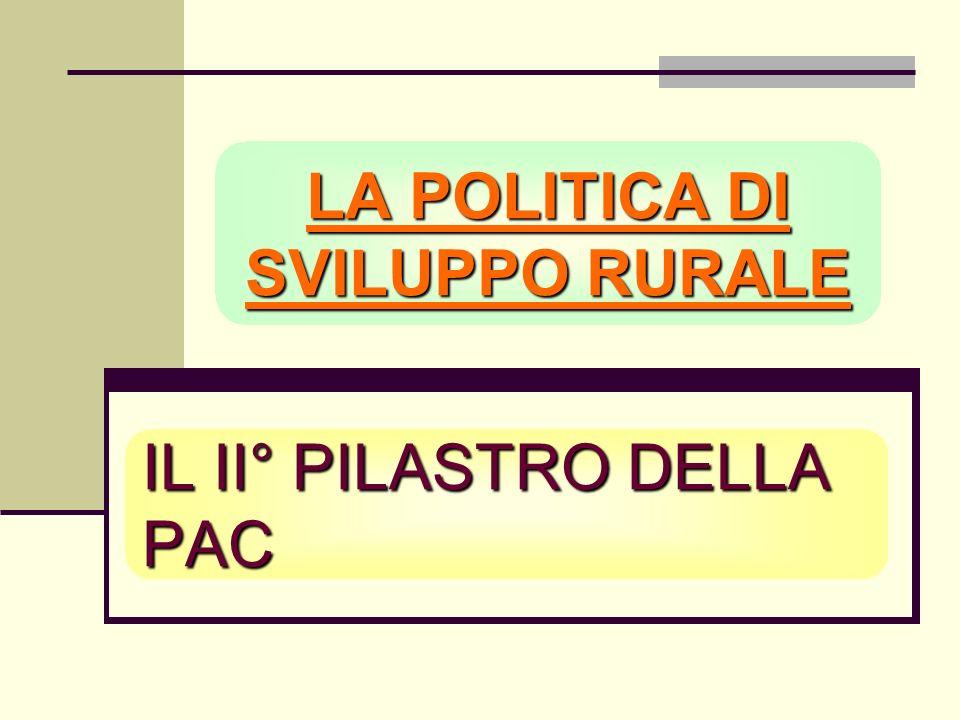 IL II° PILASTRO DELLA PAC LA POLITICA DI SVILUPPO RURALE