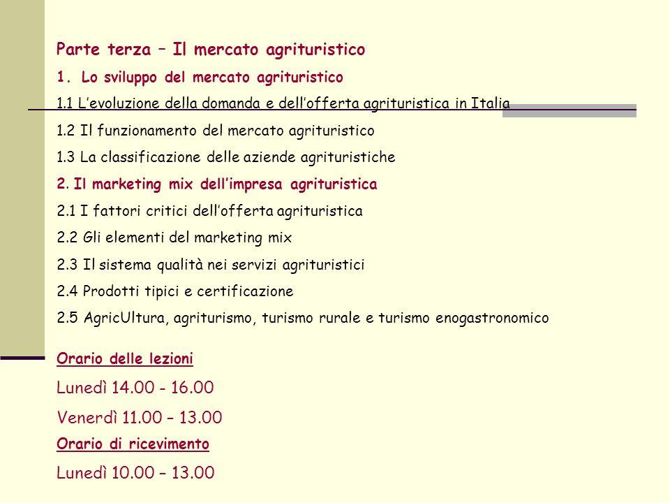 Parte terza – Il mercato agrituristico 1.Lo sviluppo del mercato agrituristico 1.1 Levoluzione della domanda e dellofferta agrituristica in Italia 1.2 Il funzionamento del mercato agrituristico 1.3 La classificazione delle aziende agrituristiche 2.