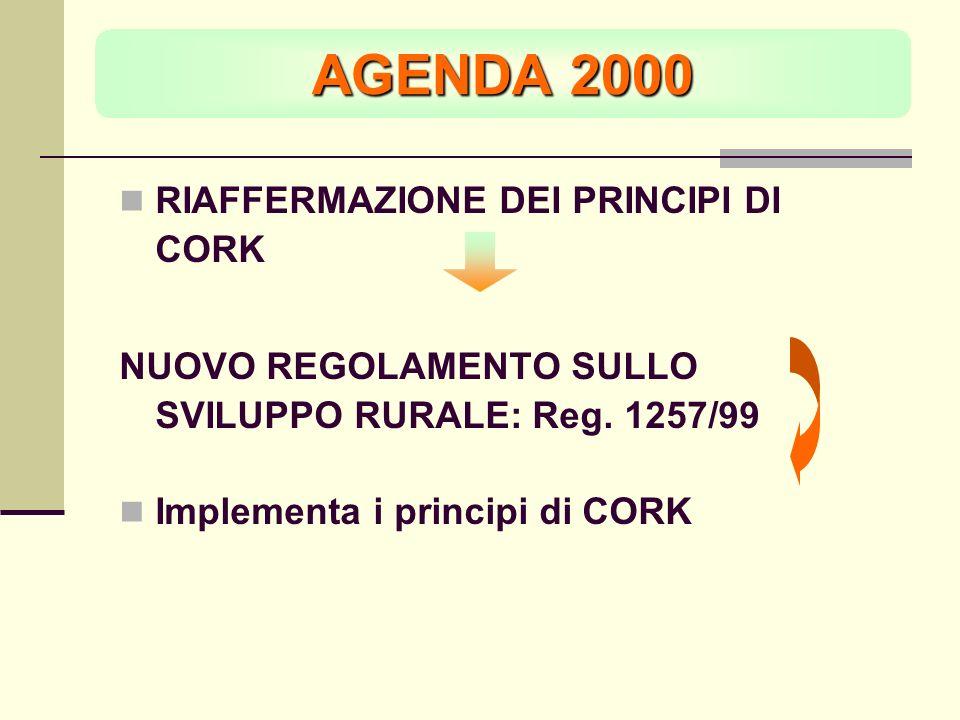AGENDA 2000 RIAFFERMAZIONE DEI PRINCIPI DI CORK NUOVO REGOLAMENTO SULLO SVILUPPO RURALE: Reg.