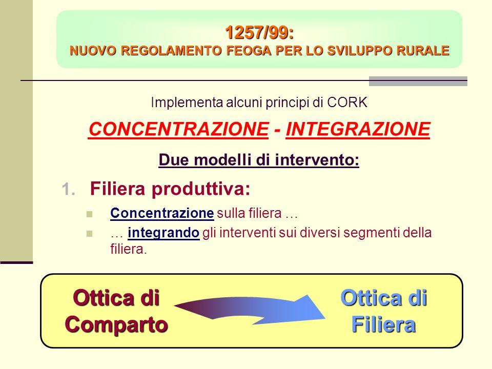 Implementa alcuni principi di CORK CONCENTRAZIONE - INTEGRAZIONE Due modelli di intervento: Filiera produttiva: Concentrazione sulla filiera … … integrando gli interventi sui diversi segmenti della filiera.