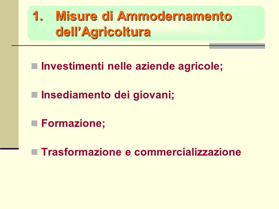 1.Misure di Ammodernamento dellAgricoltura Investimenti nelle aziende agricole; Insediamento dei giovani; Formazione; Trasformazione e commercializzazione