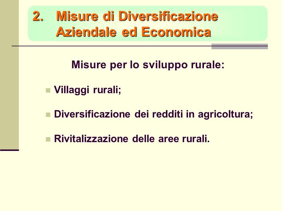 2.Misure di Diversificazione Aziendale ed Economica Misure per lo sviluppo rurale: Villaggi rurali; Diversificazione dei redditi in agricoltura; Rivitalizzazione delle aree rurali.