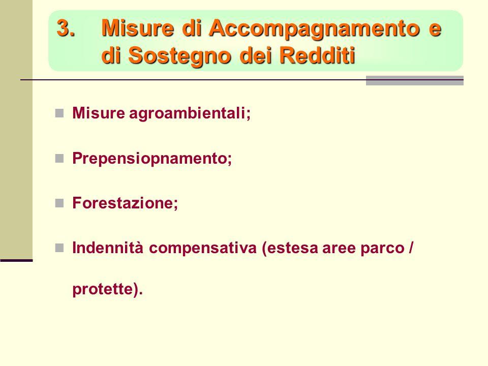 3.Misure di Accompagnamento e di Sostegno dei Redditi Misure agroambientali; Prepensiopnamento; Forestazione; Indennità compensativa (estesa aree parco / protette).