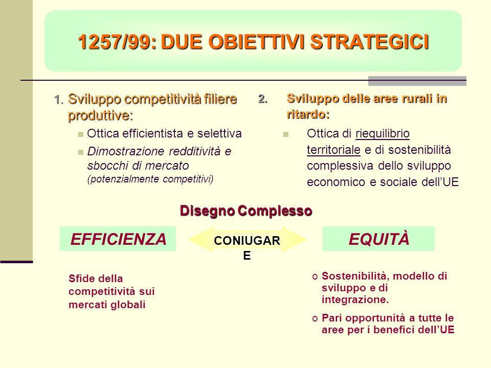 1257/99: DUE OBIETTIVI STRATEGICI Sviluppo competitività filiere produttive: Sviluppo competitività filiere produttive: Ottica efficientista e selettiva Dimostrazione redditività e sbocchi di mercato (potenzialmente competitivi) Sviluppo delle aree rurali in ritardo: Sviluppo delle aree rurali in ritardo: Ottica di riequilibrio territoriale e di sostenibilità complessiva dello sviluppo economico e sociale dellUE Disegno Complesso EQUITÀEFFICIENZA CONIUGAR E Sfide della competitività sui mercati globali oSostenibilità, modello di sviluppo e di integrazione.