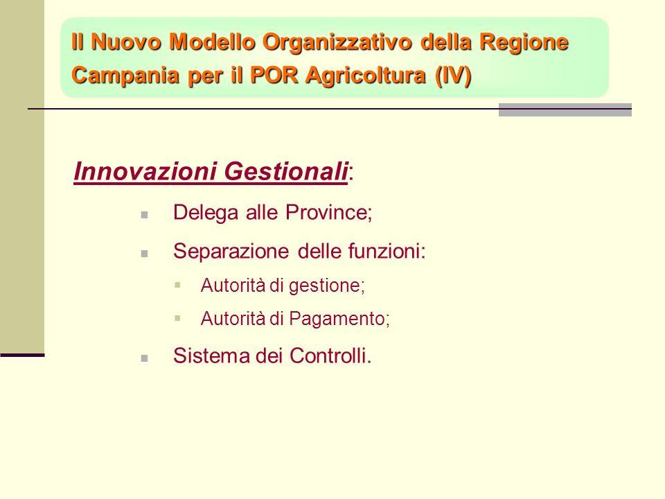 Innovazioni Gestionali: Delega alle Province; Separazione delle funzioni: Autorità di gestione; Autorità di Pagamento; Sistema dei Controlli.