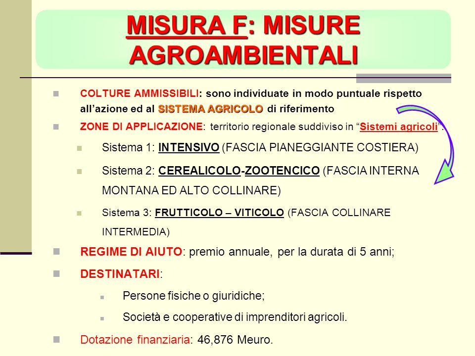 MISURA F: MISURE AGROAMBIENTALI SISTEMA AGRICOLO COLTURE AMMISSIBILI: sono individuate in modo puntuale rispetto allazione ed al SISTEMA AGRICOLO di riferimento ZONE DI APPLICAZIONE: territorio regionale suddiviso in Sistemi agricoli: INTENSIVO Sistema 1: INTENSIVO (FASCIA PIANEGGIANTE COSTIERA) CEREALICOLO-ZOOTENCICO (FASCIA INTERNA MONTANA ED ALTO COLLINARE) Sistema 2: CEREALICOLO-ZOOTENCICO (FASCIA INTERNA MONTANA ED ALTO COLLINARE) Sistema 3: FRUTTICOLO – VITICOLO (FASCIA COLLINARE INTERMEDIA) REGIME DI AIUTO: premio annuale, per la durata di 5 anni; DESTINATARI: Persone fisiche o giuridiche; Società e cooperative di imprenditori agricoli.