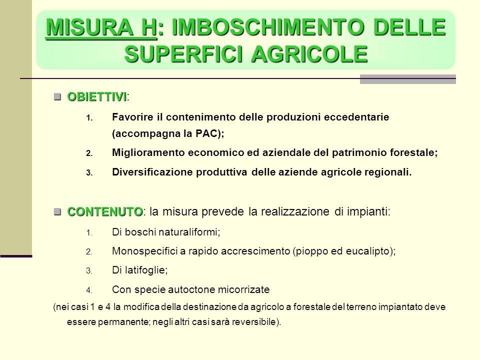 MISURA H: IMBOSCHIMENTO DELLE SUPERFICI AGRICOLE OBIETTIVI OBIETTIVI: Favorire il contenimento delle produzioni eccedentarie (accompagna la PAC); Miglioramento economico ed aziendale del patrimonio forestale; Diversificazione produttiva delle aziende agricole regionali.