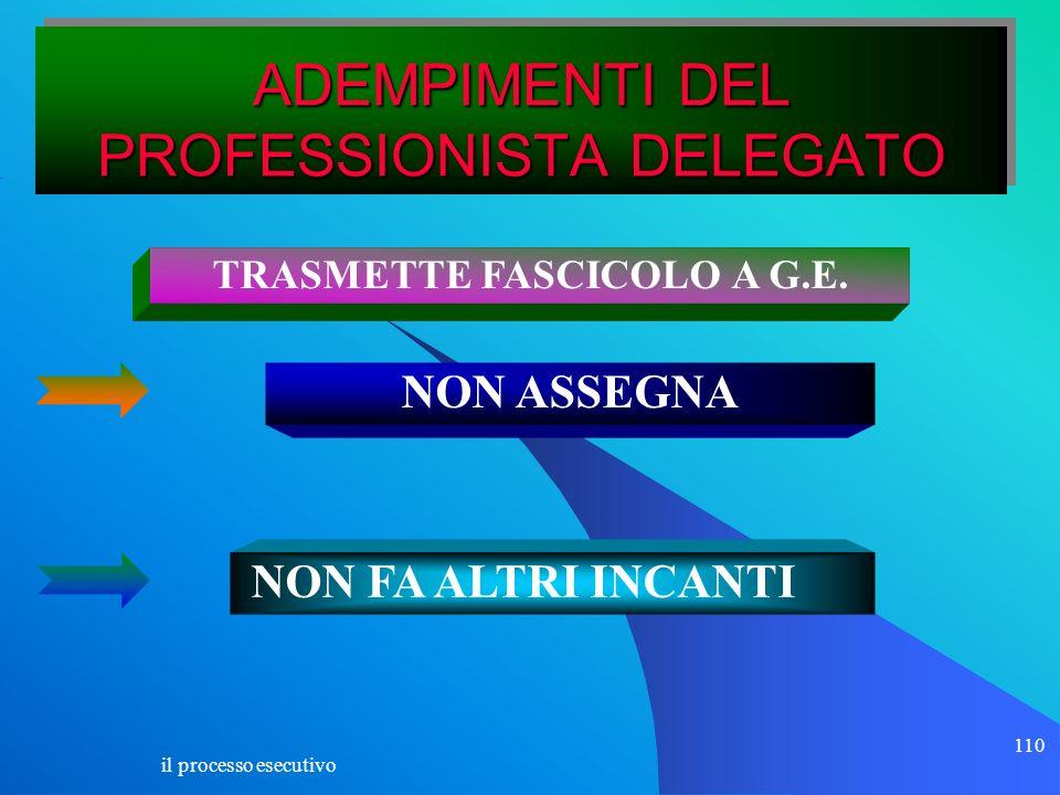 il processo esecutivo 110 ADEMPIMENTI DEL PROFESSIONISTA DELEGATO TRASMETTE FASCICOLO A G.E. NON ASSEGNA NON FA ALTRI INCANTI