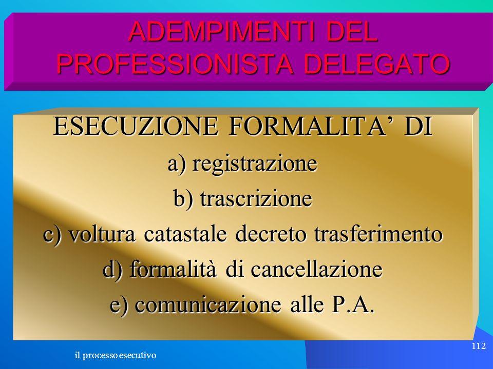 il processo esecutivo 112 ADEMPIMENTI DEL PROFESSIONISTA DELEGATO ESECUZIONE FORMALITA DI a) registrazione b) trascrizione c) voltura catastale decret