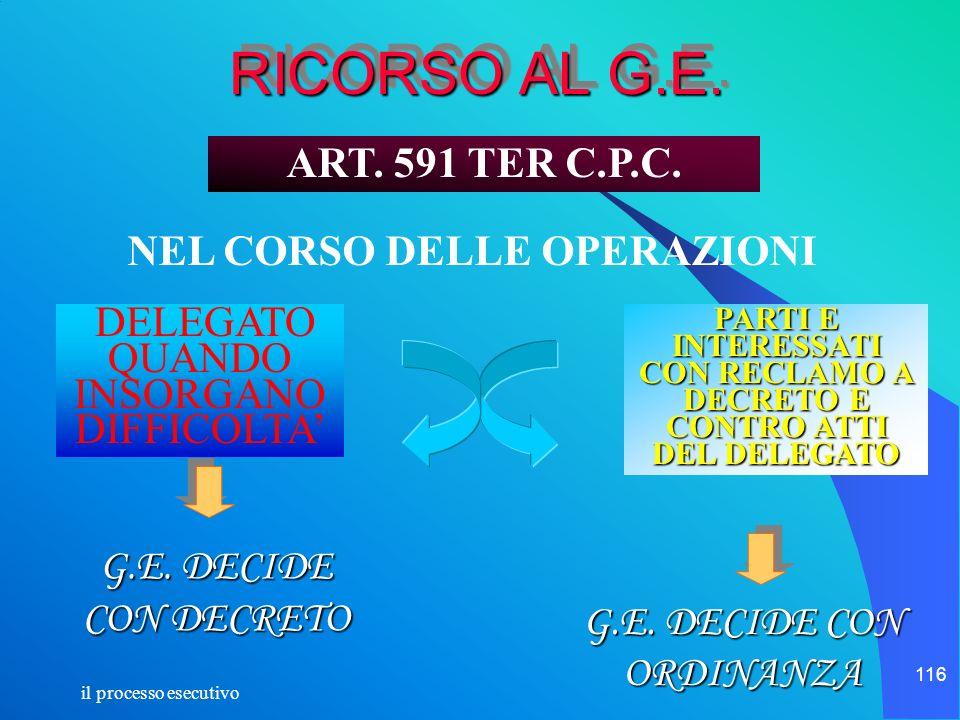 il processo esecutivo 116 RICORSO AL G.E. DELEGATO QUANDO INSORGANO DIFFICOLTA PARTI E INTERESSATI CON RECLAMO A DECRETO E CONTRO ATTI DEL DELEGATO G.
