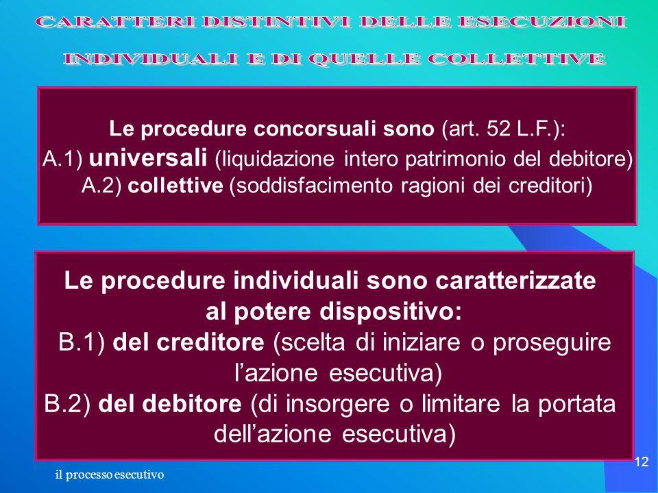 il processo esecutivo 12 Le procedure concorsuali sono (art. 52 L.F.): A.1) universali (liquidazione intero patrimonio del debitore) A.2) collettive (