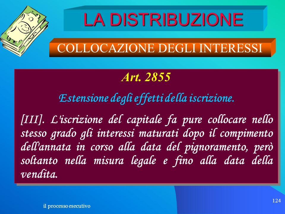 il processo esecutivo 124 LA DISTRIBUZIONE COLLOCAZIONE DEGLI INTERESSI Art. 2855 Estensione degli effetti della iscrizione. [III]. L'iscrizione del c