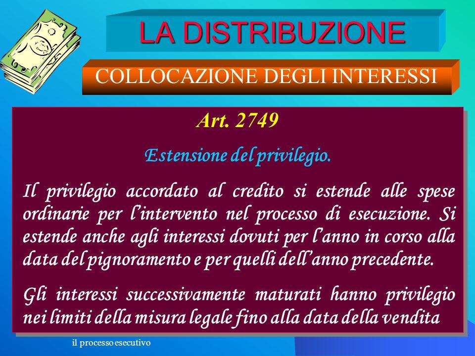 il processo esecutivo 134 LA DISTRIBUZIONE COLLOCAZIONE DEGLI INTERESSI Art. 2749 Estensione del privilegio. Il privilegio accordato al credito si est