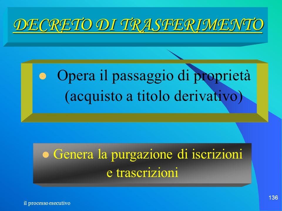 il processo esecutivo 136 DECRETO DI TRASFERIMENTO Opera il passaggio di proprietà (acquisto a titolo derivativo) Genera la purgazione di iscrizioni e