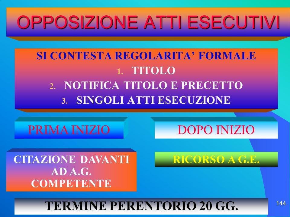 il processo esecutivo 144 OPPOSIZIONE ATTI ESECUTIVI SI CONTESTA REGOLARITA FORMALE 1. TITOLO 2. NOTIFICA TITOLO E PRECETTO 3. SINGOLI ATTI ESECUZIONE