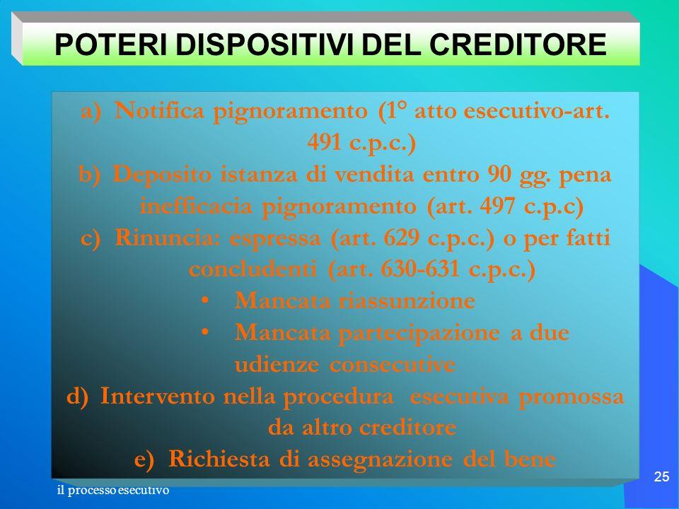 il processo esecutivo 25 a)Notifica pignoramento (1° atto esecutivo-art. 491 c.p.c.) b)Deposito istanza di vendita entro 90 gg. pena inefficacia pigno