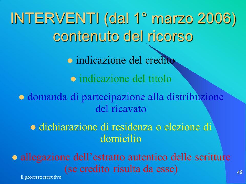 il processo esecutivo 49 INTERVENTI (dal 1° marzo 2006) contenuto del ricorso indicazione del credito indicazione del titolo domanda di partecipazione