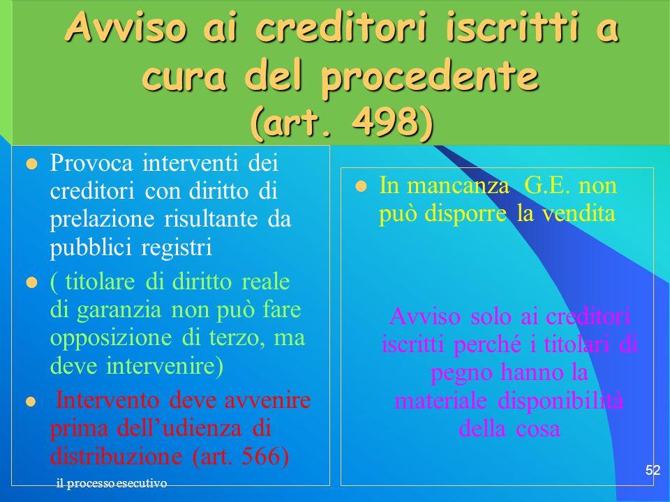il processo esecutivo 52 Avviso ai creditori iscritti a cura del procedente (art. 498) Provoca interventi dei creditori con diritto di prelazione risu