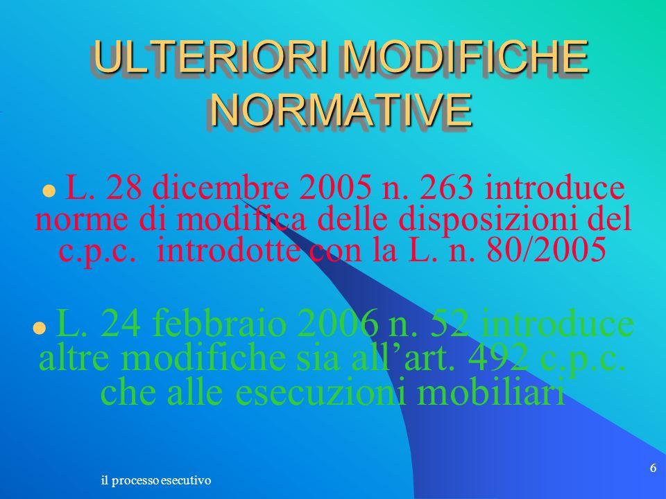 il processo esecutivo 6 ULTERIORI MODIFICHE NORMATIVE L. 28 dicembre 2005 n. 263 introduce norme di modifica delle disposizioni del c.p.c. introdotte