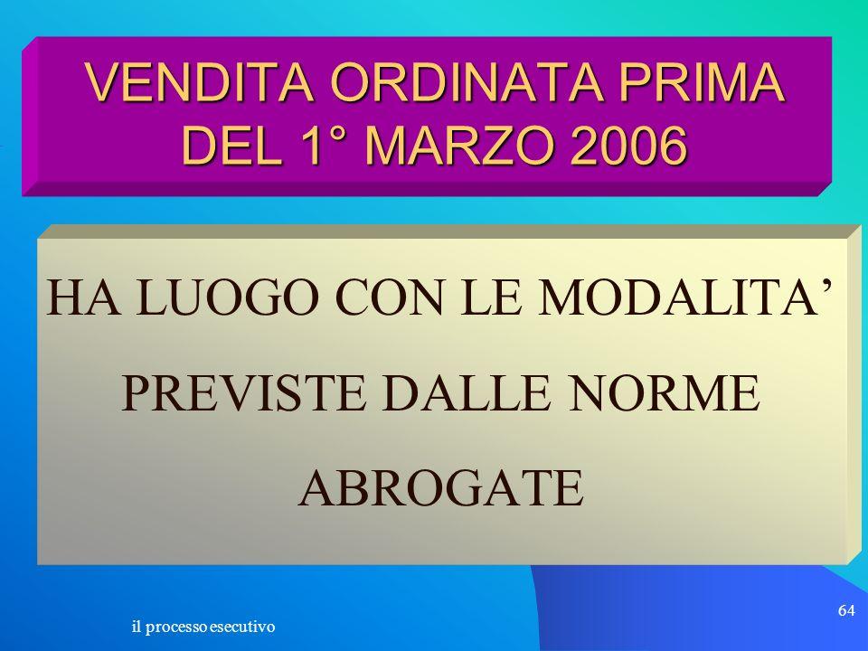 il processo esecutivo 64 VENDITA ORDINATA PRIMA DEL 1° MARZO 2006 HA LUOGO CON LE MODALITA PREVISTE DALLE NORME ABROGATE