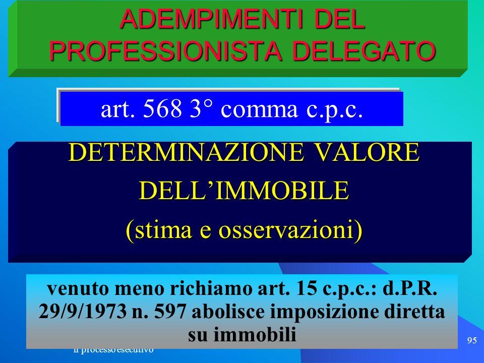 il processo esecutivo 95 ADEMPIMENTI DEL PROFESSIONISTA DELEGATO DETERMINAZIONE VALORE DELLIMMOBILE (stima e osservazioni) art. 568 3° comma c.p.c. ve