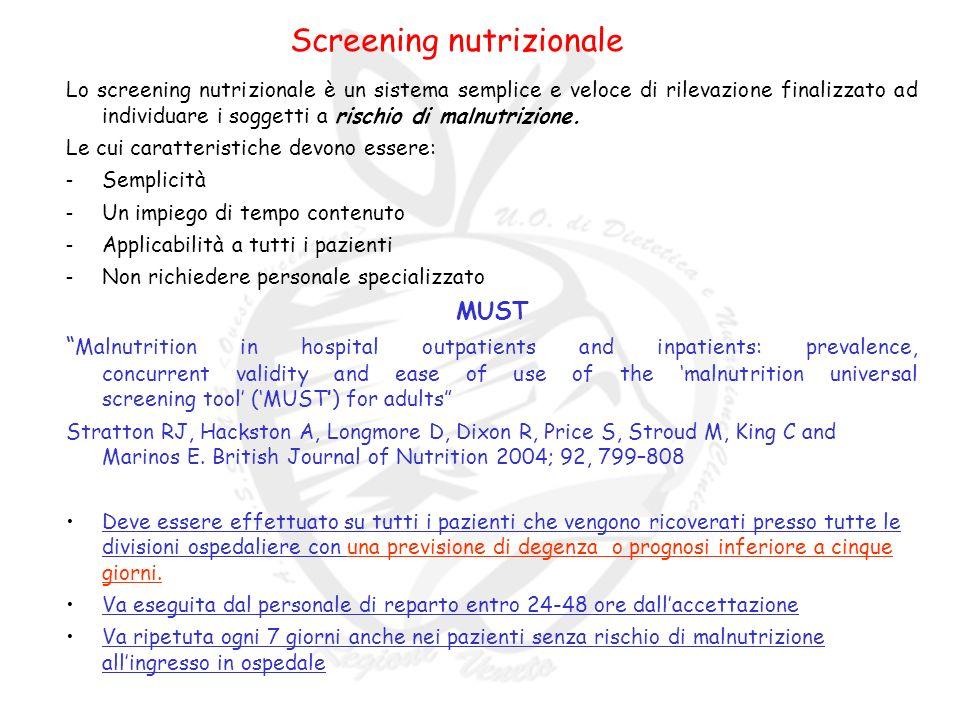 Screening nutrizionale Lo screening nutrizionale è un sistema semplice e veloce di rilevazione finalizzato ad individuare i soggetti a rischio di malnutrizione.