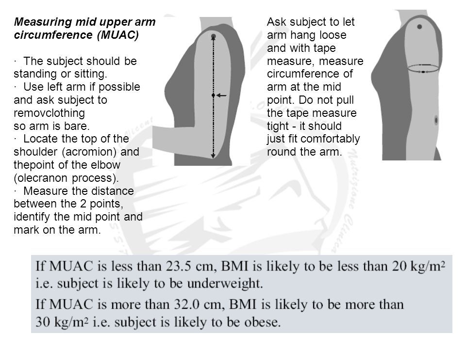 Measuring mid upper arm circumference (MUAC) · The subject should be standing or sitting. · Use left arm if possible and ask subject to removclothing