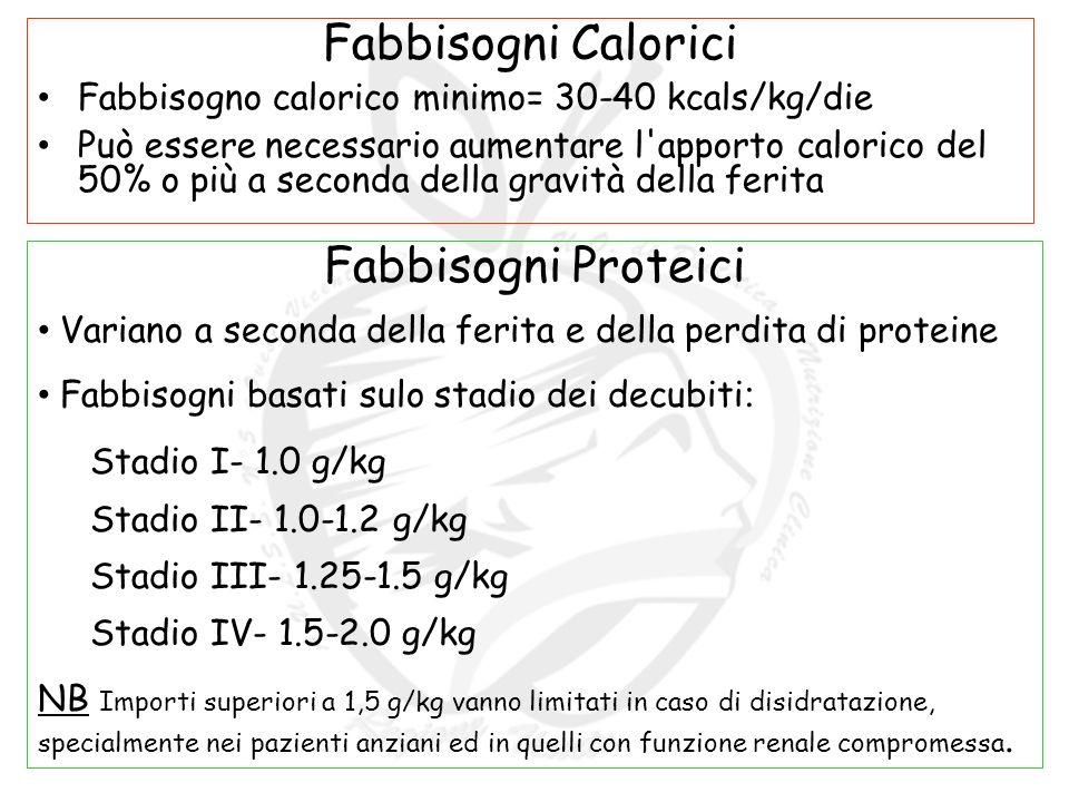 Fabbisogni Calorici Fabbisogno calorico minimo= 30-40 kcals/kg/die Può essere necessario aumentare l apporto calorico del 50% o più a seconda della gravità della ferita Fabbisogni Proteici Variano a seconda della ferita e della perdita di proteine Fabbisogni basati sulo stadio dei decubiti : Stadio I- 1.0 g/kg Stadio II- 1.0-1.2 g/kg Stadio III- 1.25-1.5 g/kg Stadio IV- 1.5-2.0 g/kg NB Importi superiori a 1,5 g/kg vanno limitati in caso di disidratazione, specialmente nei pazienti anziani ed in quelli con funzione renale compromessa.