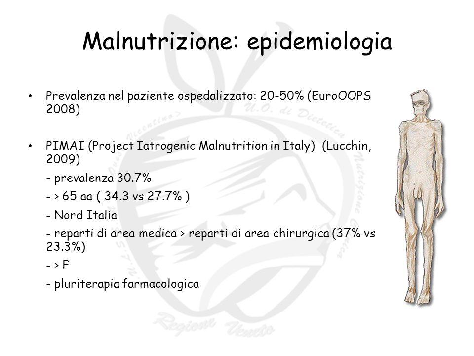 Malnutrizione: epidemiologia Prevalenza nel paziente ospedalizzato: 20-50% (EuroOOPS 2008) PIMAI (Project Iatrogenic Malnutrition in Italy) (Lucchin, 2009) - prevalenza 30.7% - > 65 aa ( 34.3 vs 27.7% ) - Nord Italia - reparti di area medica > reparti di area chirurgica (37% vs 23.3%) - > F - pluriterapia farmacologica