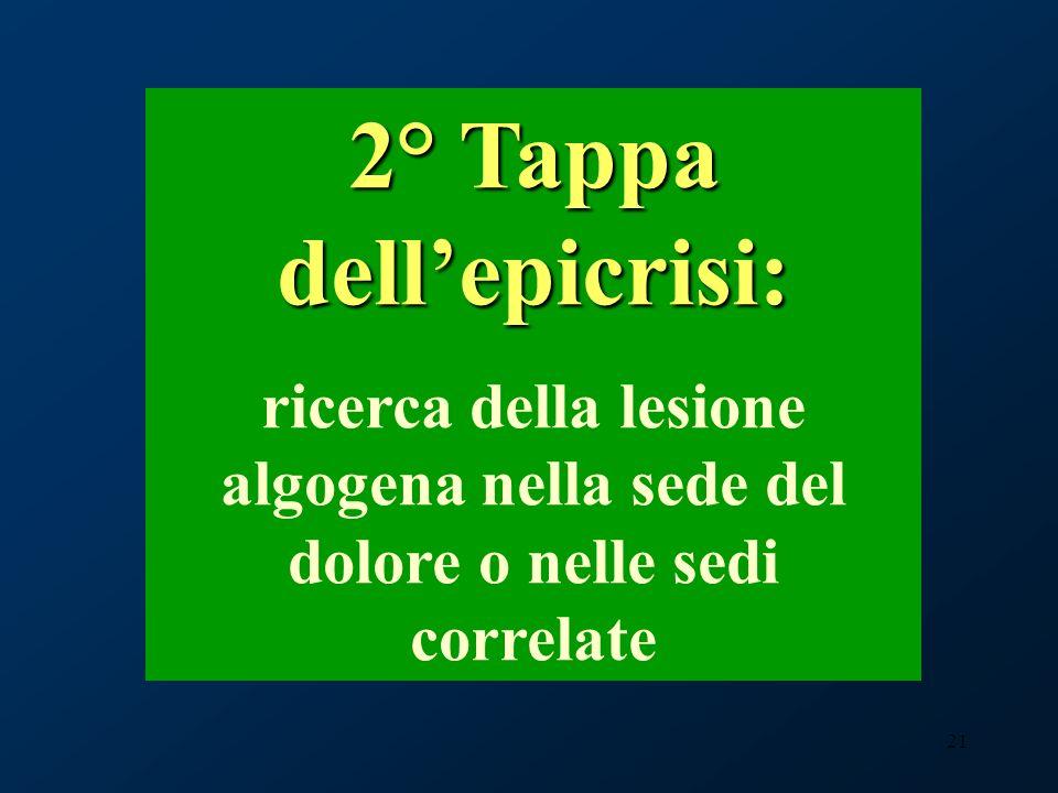 21 2° Tappa dellepicrisi: ricerca della lesione algogena nella sede del dolore o nelle sedi correlate