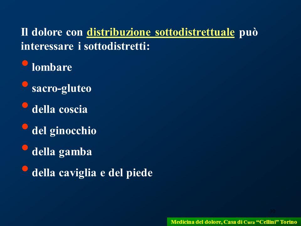 30 Il dolore con distribuzione sottodistrettuale può interessare i sottodistretti: lombare sacro-gluteo della coscia del ginocchio della gamba della c