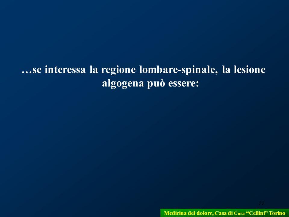 33 …se interessa la regione lombare-spinale, la lesione algogena può essere: Medicina del dolore, Casa di Cura Cellini Torino