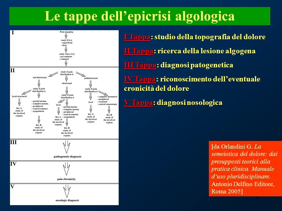 4 Le tappe dellepicrisi algologica I Tappa: studio della topografia del dolore II Tappa: ricerca della lesione algogena III Tappa: diagnosi patogeneti
