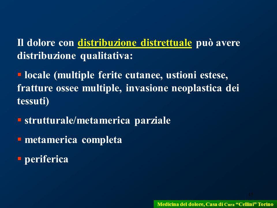 45 Il dolore con distribuzione distrettuale può avere distribuzione qualitativa: locale (multiple ferite cutanee, ustioni estese, fratture ossee multi