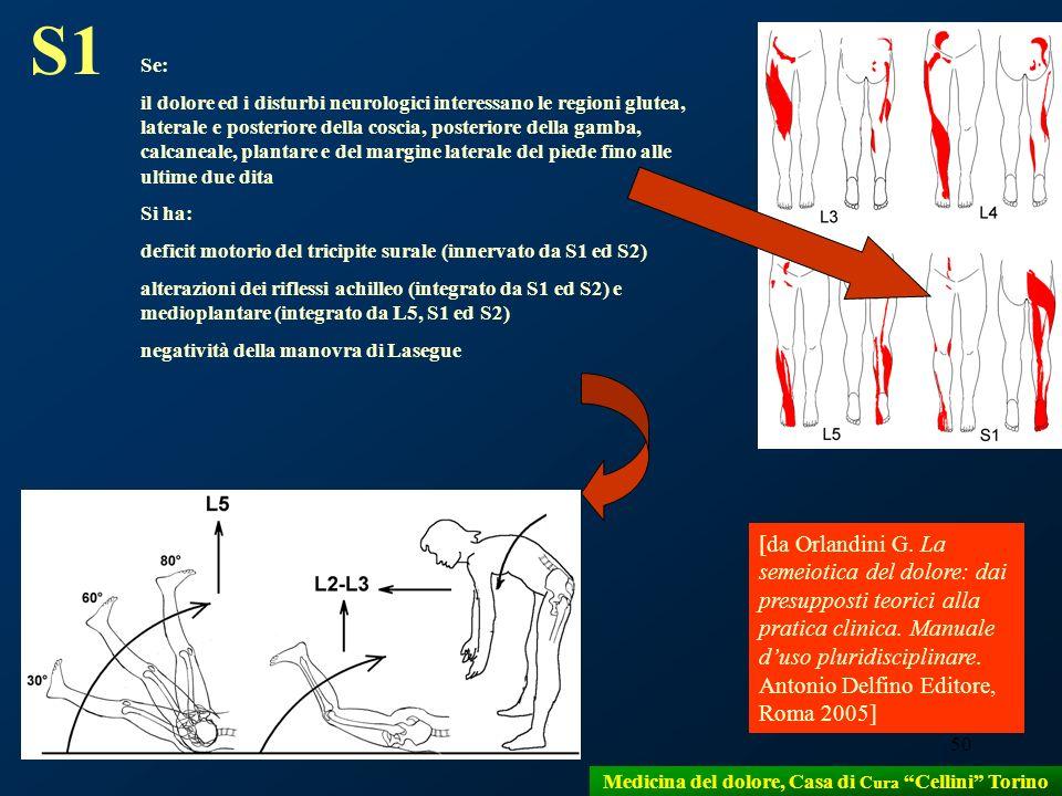 50 S1 Se: il dolore ed i disturbi neurologici interessano le regioni glutea, laterale e posteriore della coscia, posteriore della gamba, calcaneale, p
