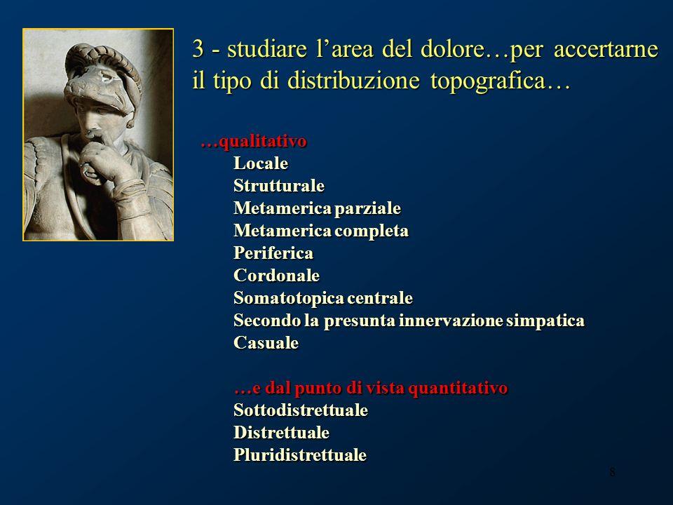 29 …considerando la distribuzione quantitativa, il dolore può essere: Sottodistrettuale Distrettuale Medicina del dolore, Casa di Cura Cellini Torino