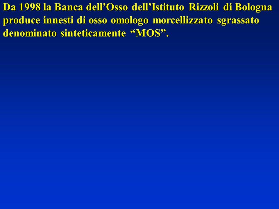 Da 1998 la Banca dellOsso dellIstituto Rizzoli di Bologna produce innesti di osso omologo morcellizzato sgrassato denominato sinteticamente MOS.