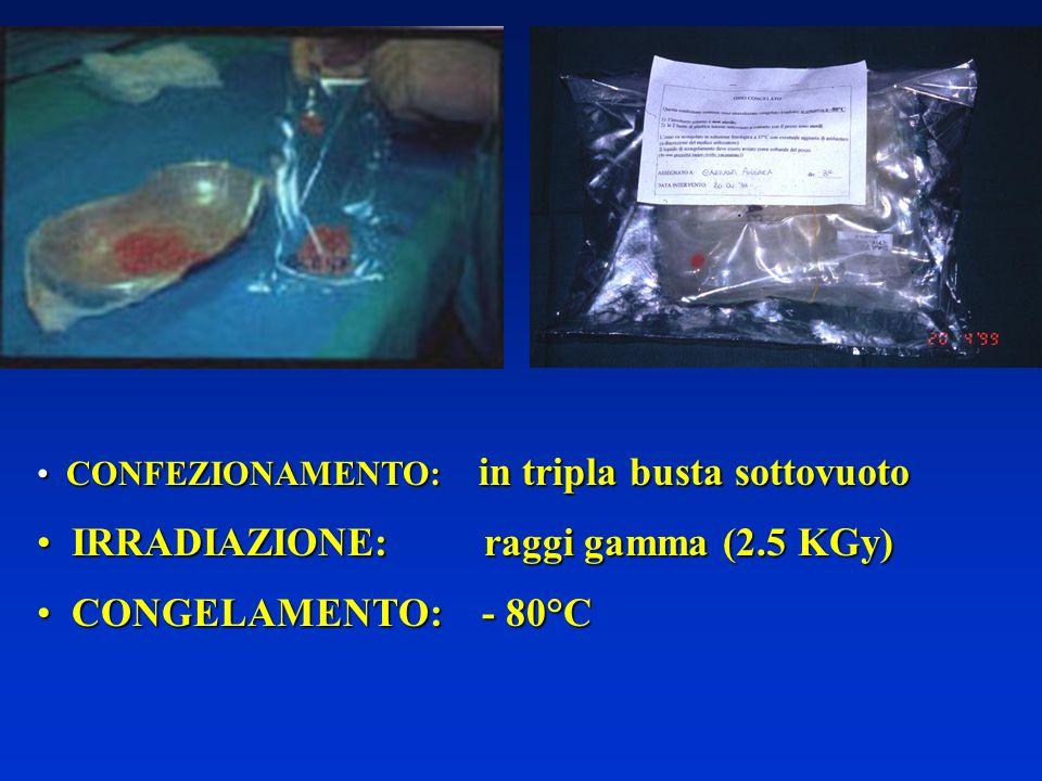 CONFEZIONAMENTO: in tripla busta sottovuoto CONFEZIONAMENTO: in tripla busta sottovuoto IRRADIAZIONE: raggi gamma (2.5 KGy) IRRADIAZIONE: raggi gamma (2.5 KGy) CONGELAMENTO: - 80°C CONGELAMENTO: - 80°C