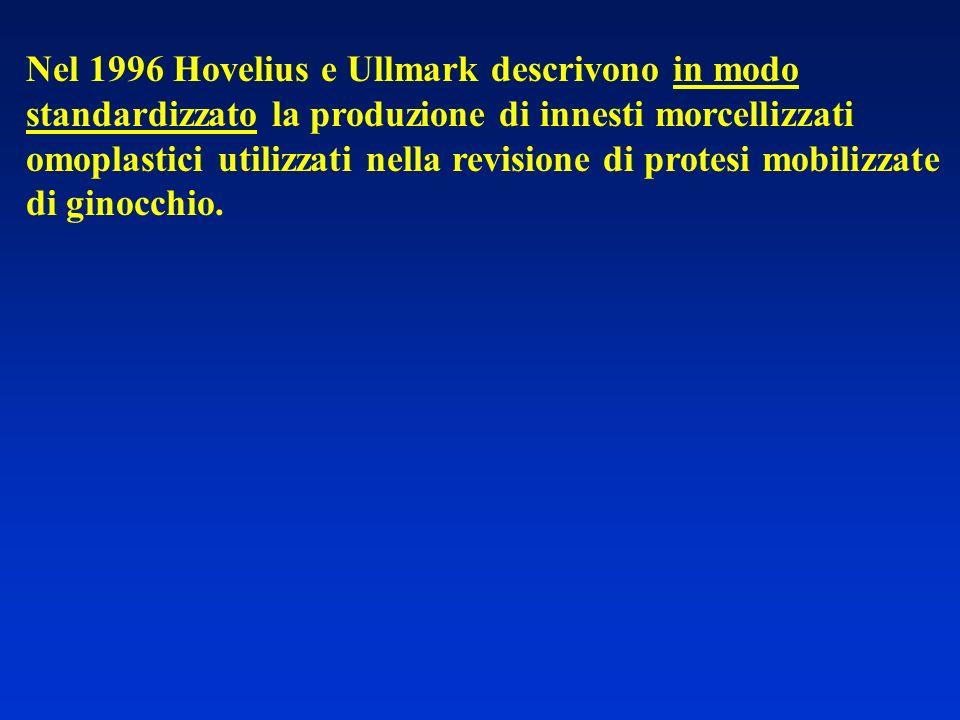 Nel 1996 Hovelius e Ullmark descrivono in modo standardizzato la produzione di innesti morcellizzati omoplastici utilizzati nella revisione di protesi