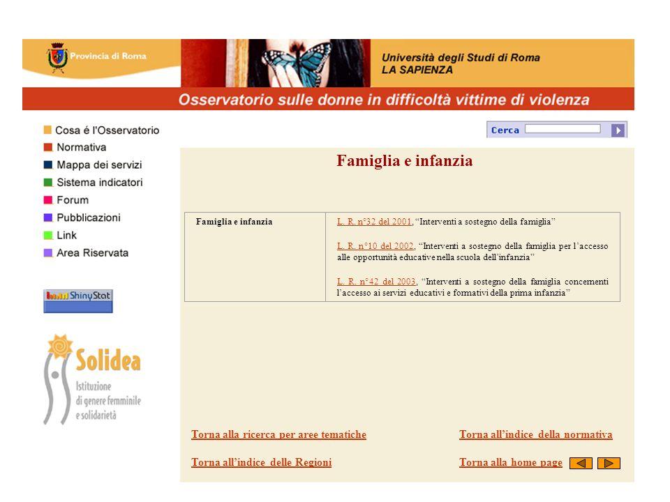 Famiglia e infanzia L. R. n°32 del 2001L. R.