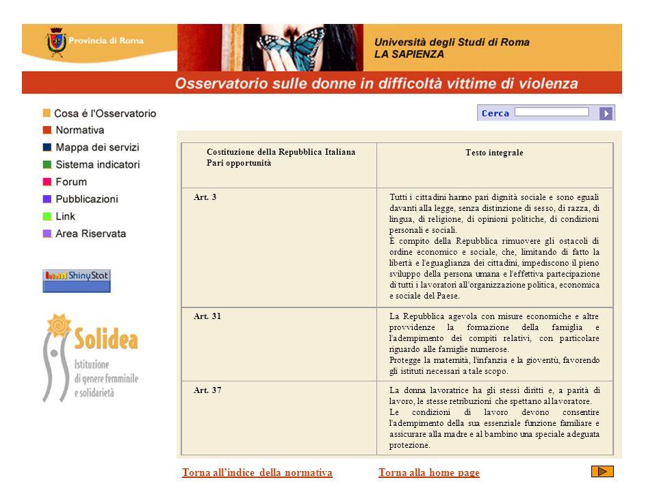 Costituzione della Repubblica Italiana Pari opportunità Testo integrale Art.