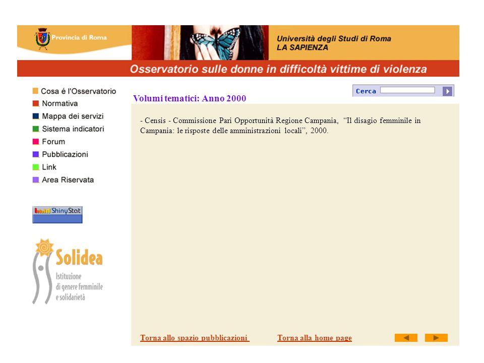 Volumi tematici: Anno 2000 - Censis - Commissione Pari Opportunità Regione Campania, Il disagio femminile in Campania: le risposte delle amministrazioni locali, 2000.