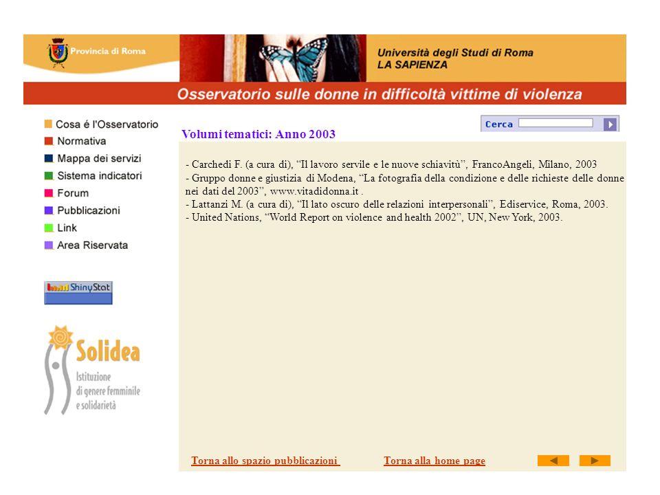 Volumi tematici: Anno 2003 - Carchedi F.